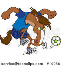 Cartoon Soccer Stallion by Ron Leishman
