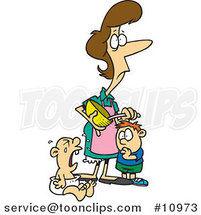 Cartoon Stressed Mom Using a Mixing Bowl near Her Crying Baby by Ron Leishman