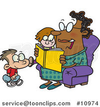 Cartoon Lady Reading a Book to a Boy and Girl at Story Time by Ron Leishman