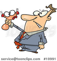 Cartoon Business Man Squeezing a Stress Toy by Ron Leishman
