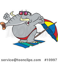 Cartoon Beach Elephant Stretching by Ron Leishman