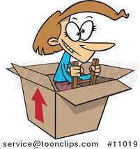 Cartoon Lady Climbing out of a Box by Ron Leishman