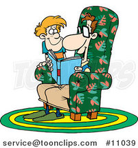 Cartoon Father Reading a Story to His Son by Ron Leishman