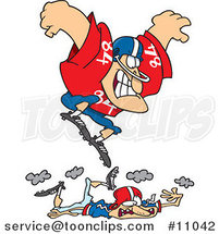 Cartoon Huge Footballer Stomping on a Smaller Guy by Ron Leishman