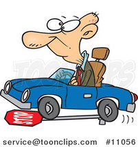 Cartoon Senior Guy Running over a Stop Sign by Ron Leishman