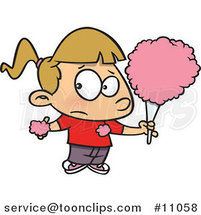 Cartoon Sticky Girl Eating Cotton Candy by Toonaday