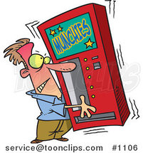 Cartoon Guy Shaking a Munchies Vending Machine by Toonaday