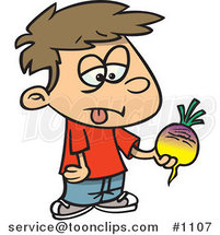 Cartoon Disgusted Boy Holding a Turnip by Ron Leishman