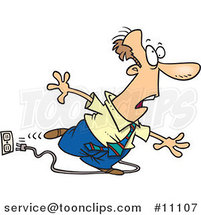Cartoon Business Man Stumbling over a Cord by Ron Leishman