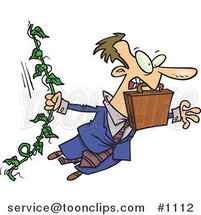 Cartoon White Business Man Swinging from a Vine like Tarzan by Ron Leishman