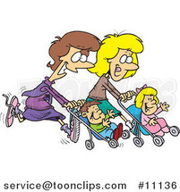 Cartoon Mothers Running with Strollers by Toonaday