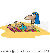 Cartoon Arabian Guy Sun Bathing by Toonaday