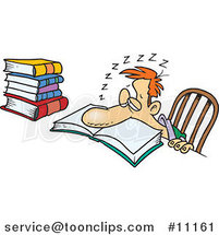 Cartoon Tired Guy Falling Asleep While Studying by Ron Leishman