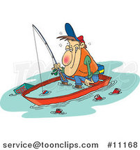 Cartoon Drunk Guy Fishing in a Sinking Boat by Ron Leishman