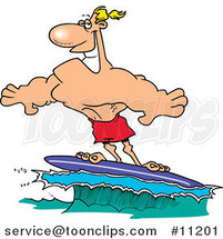 Cartoon Buff Surfer Riding a Wave by Ron Leishman