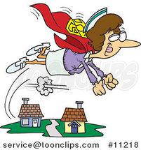 Cartoon Super Nurse Flying by Ron Leishman