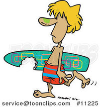 Cartoon Surfer Dude Carrying a Shark Bitten Board by Ron Leishman