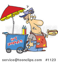 Cartoon Messy Hot Dog Vendor by His Cart by Ron Leishman