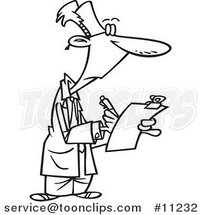 Cartoon Black and White Line Drawing of a Supervisor Filling out a Survey by Ron Leishman
