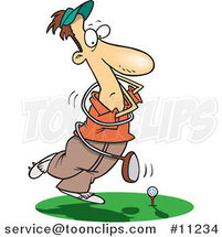Cartoon Swinging Golfer Getting Tangled in a Club by Ron Leishman