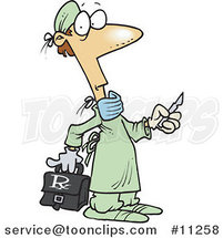 Cartoon Surgeon Holding a Scalpel by Toonaday