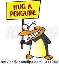 Cartoon Penguin Holding a Hug a Penguin Awareness Sign by Toonaday