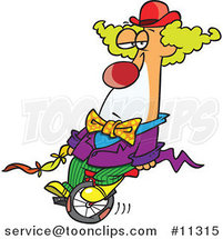 Cartoon Bored Clown on a Unicycle by Ron Leishman