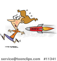 Cartoon Businesswoman Running from a Tax Rocket by Toonaday