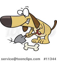 Cartoon Dog Digging a Deposit Hole for a Bone by Ron Leishman