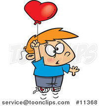Cartoon Boy Floating Upwards with a Heart Balloon by Toonaday