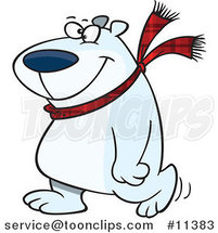 Cartoon Happy Polar Bear Wearing a Scarf and Walking Upright by Ron Leishman
