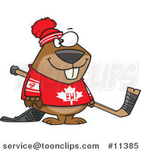 Cartoon Hockey Beaver by Toonaday