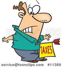 Cartoon Guy Being Struck with a Taxes Arrow by Toonaday