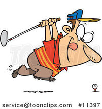 Cartoon Approaching Golfer by Ron Leishman
