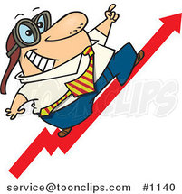 Cartoon Business Man Wearing Goggles and Standing on an Upward Arrow by Toonaday