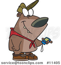 Cartoon Hiking Bear Using a GPS Tool by Ron Leishman