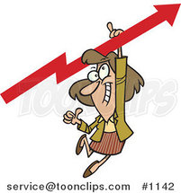 Cartoon Business Woman Holding a Thumb up and Hanging from an Upward Arrow by Ron Leishman