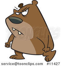 Cartoon Surly Bear Walking with Clenched Fists by Ron Leishman