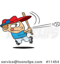 Cartoon Baseball Boy Hitting a Home Run by Ron Leishman