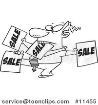 Cartoon Line Drawing of a Salesman Holding up Many Signs by Ron Leishman