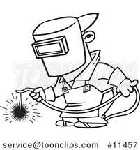 Cartoon Line Drawing of a Welder at Work by Ron Leishman