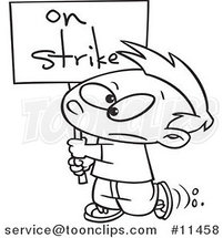 Cartoon Line Drawing of a Boy Carrying an on Strike Sign by Ron Leishman