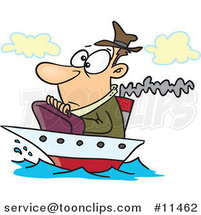 Cartoon Guy on a Tiny Ship by Ron Leishman