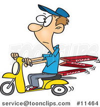Cartoon Guy Delivering Pizza on a Scooter by Ron Leishman