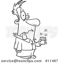 Cartoon Line Drawing of a Guy Tasting Bad Milk by Ron Leishman