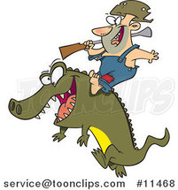 Cartoon Guy Riding an Alligator by Ron Leishman