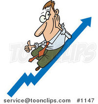 Cartoon Business Man Holding a Thum up on a Growth Arrow by Toonaday