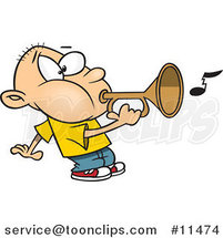 Cartoon Boy Playing a Bugle by Toonaday