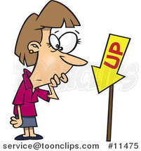Cartoon Business Lady Looking at an up Sign Pointing Downwards by Ron Leishman