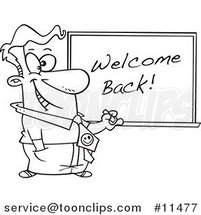 Cartoon Line Drawing of a Teacher Writing Welcome Back on a Board by Ron Leishman